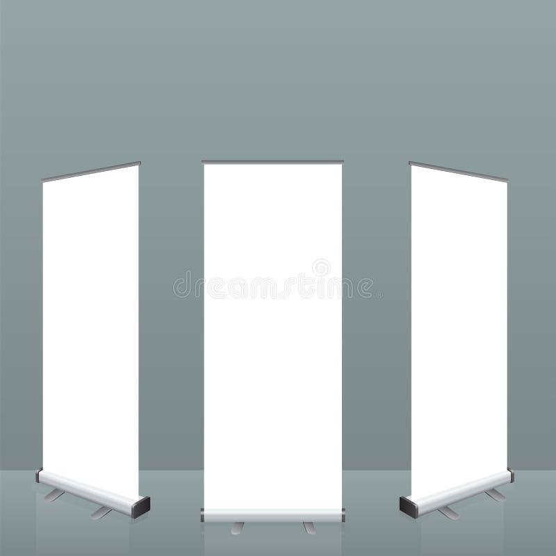 横幅卷站起来 倒空展示介绍或陈列的显示装置模板您的产品 被说明的传染媒介 库存例证