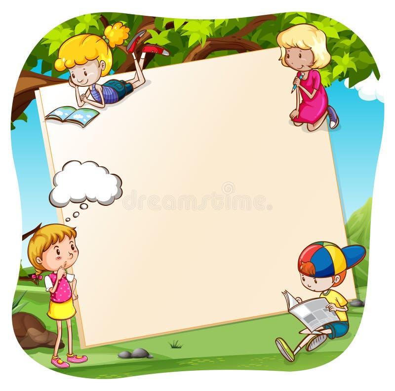 横幅和孩子 库存例证