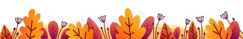 横幅和海报的橙色,红色和紫色秋叶传染媒介秋天边界 库存例证