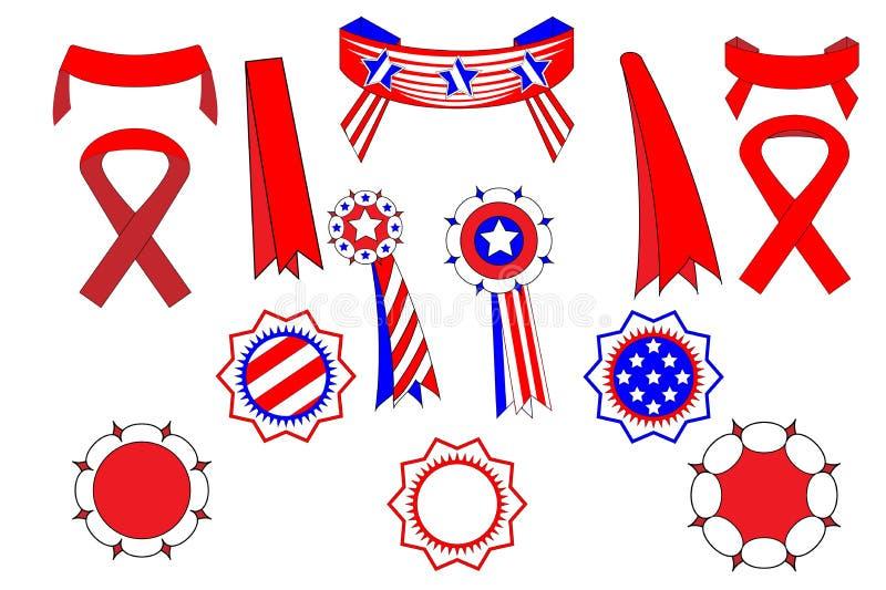 横幅和象征集合全国美国假日例如独立,纪念,辛苦,退伍军人日和其他传统 库存例证