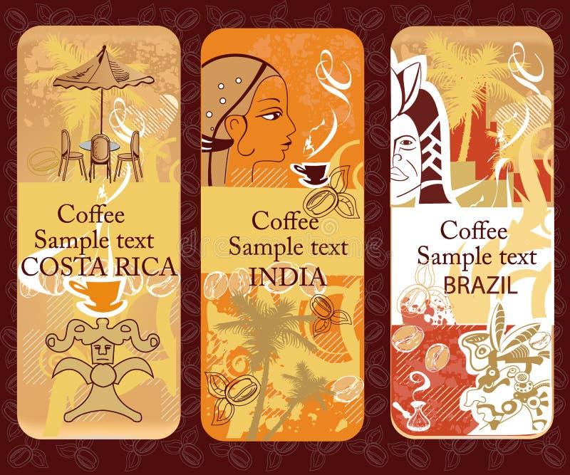 横幅咖啡具 向量例证