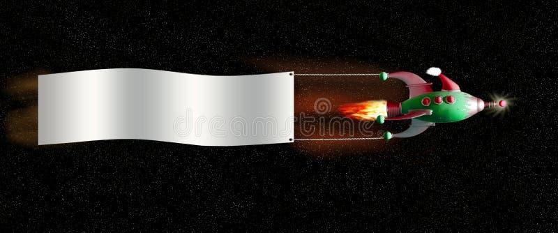 横幅圣诞节太空飞船 库存图片