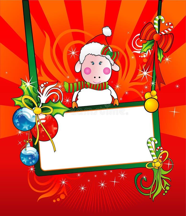 横幅圣诞节绵羊向量 库存例证