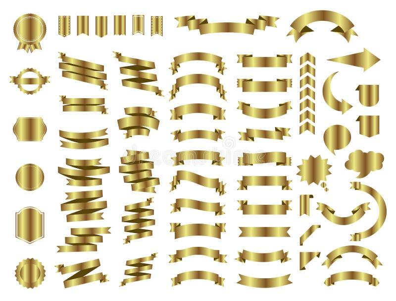 横幅在白色背景设置的传染媒介象 丝带隔绝了礼物和辅助部件的形状例证 向量例证