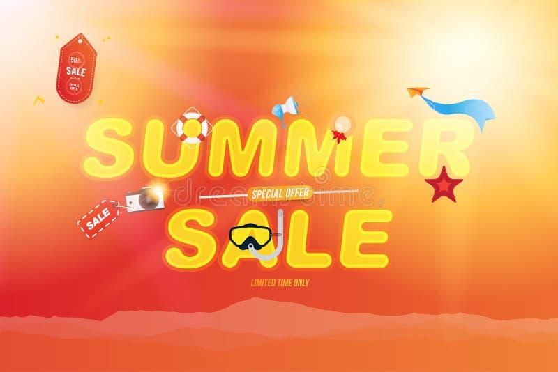 横幅夏天销售50提议 与辅助部件的字体题字一个海滩假日 照相机,帽子,潜水的面具和更 向量例证