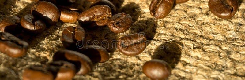 横幅大小、咖啡和咖啡豆早晨;可利用的sp 库存照片