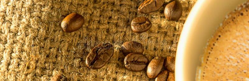 横幅大小、咖啡和咖啡豆早晨;可利用的sp 免版税库存照片