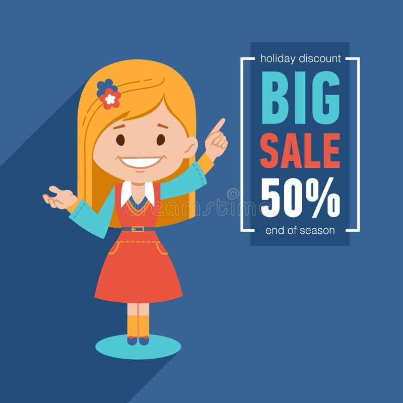 横幅大销售额 折扣50 与俏丽的女孩的广告例证 假日折扣 季节的结尾 库存例证