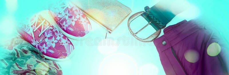 横幅套妇女衣裳便装样式 库存照片