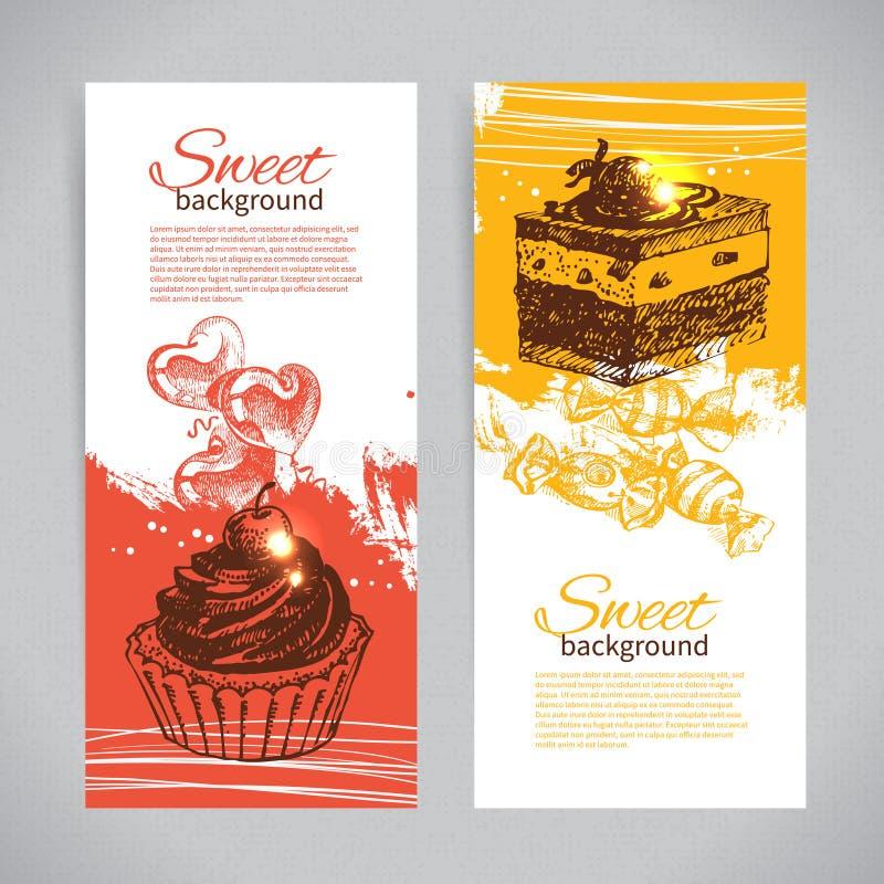 横幅套葡萄酒手拉的甜背景 库存例证