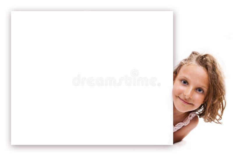 横幅女孩微笑 免版税图库摄影