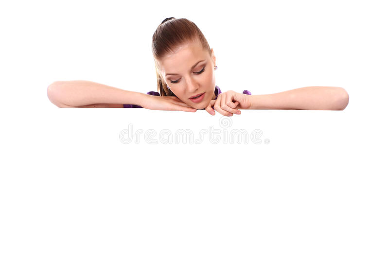横幅干净的妇女 免版税库存图片