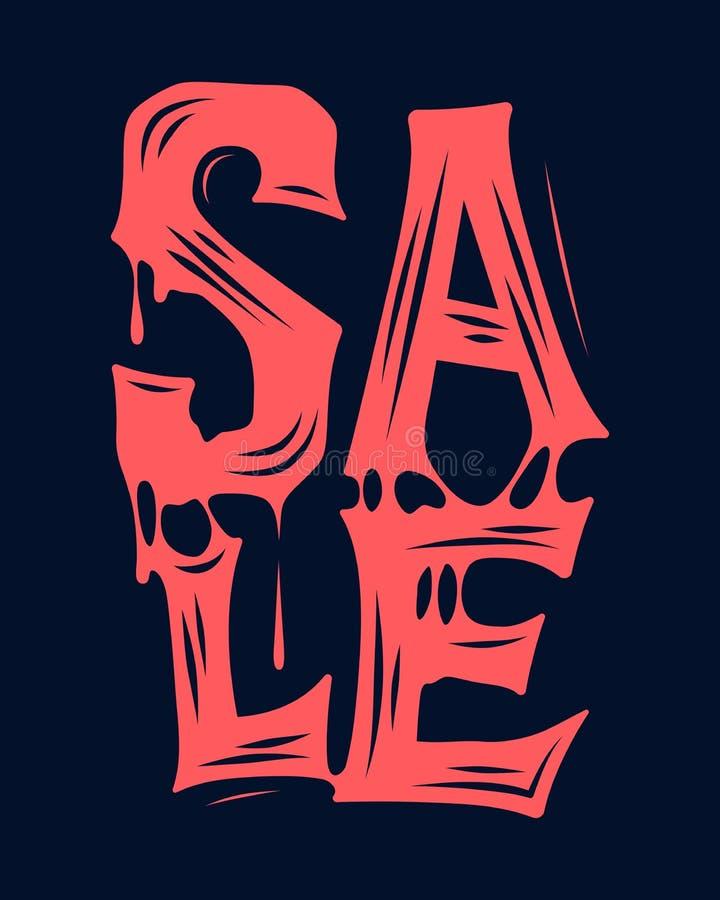 横幅广告的万圣夜销售血淋淋的印刷术设计 免版税库存图片