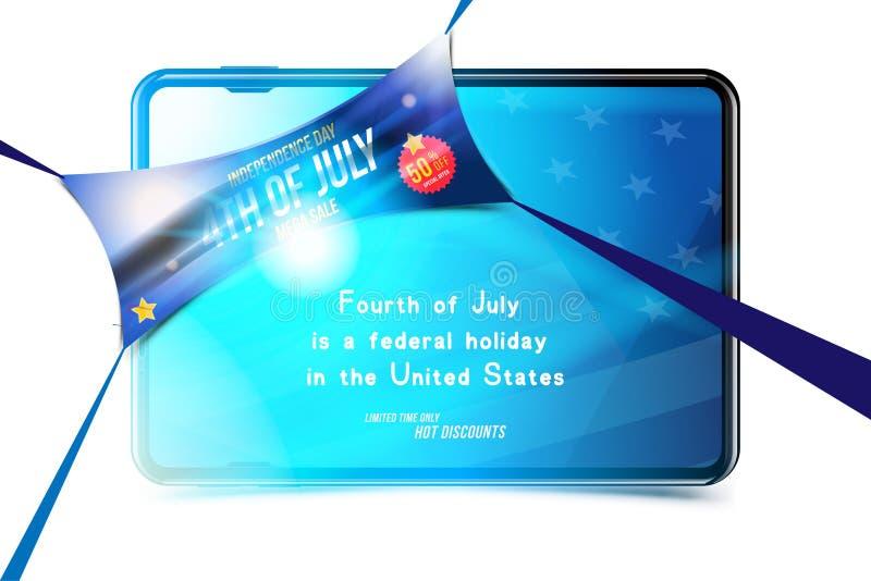 横幅庆祝愉快7月第4 -美国独立日 兆销售50与片剂和美国旗子 全国美国人 库存例证