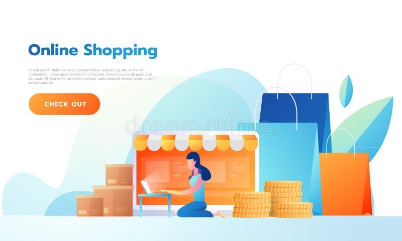 横幅愉快的女性销售的产品在网上或购物在网上 r r 库存例证
