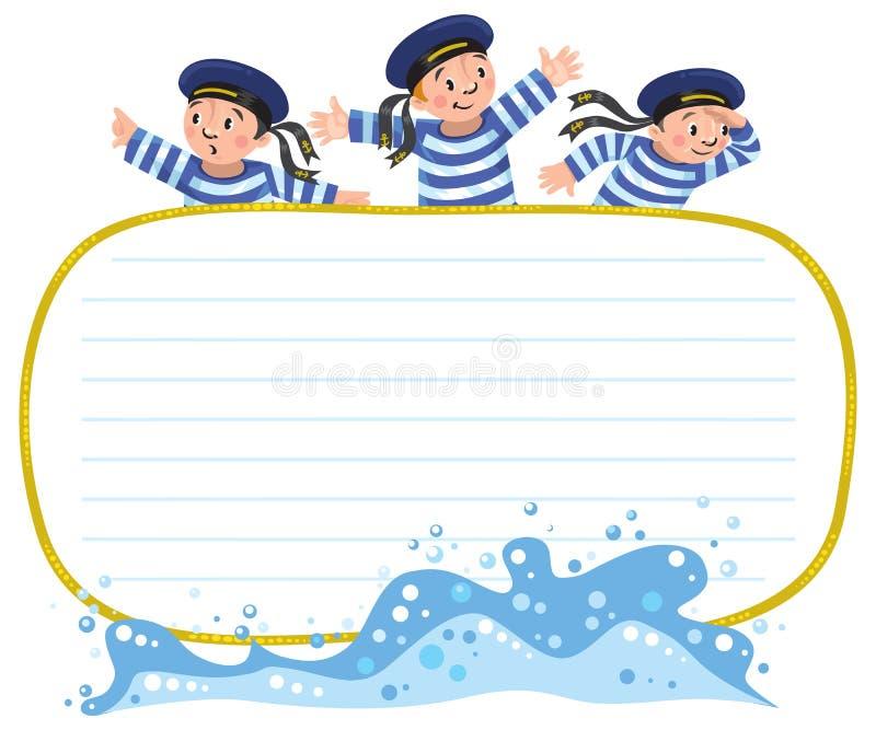横幅或卡片与愉快的水手 向量例证