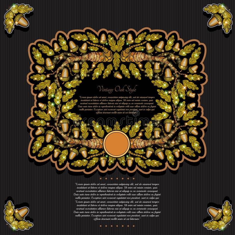 横幅或框架与橡木分支在黑背景离开和橡子 向量例证