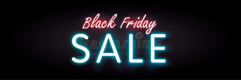 黑横幅或海报的星期五销售霓虹样式标题设计 库存例证
