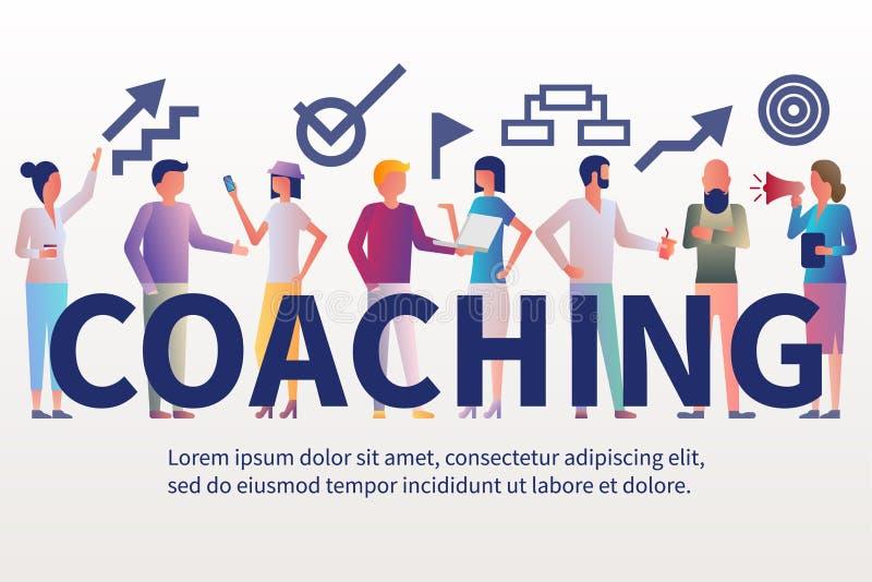 横幅教练 女实业家当前事务的教练领导 向量例证