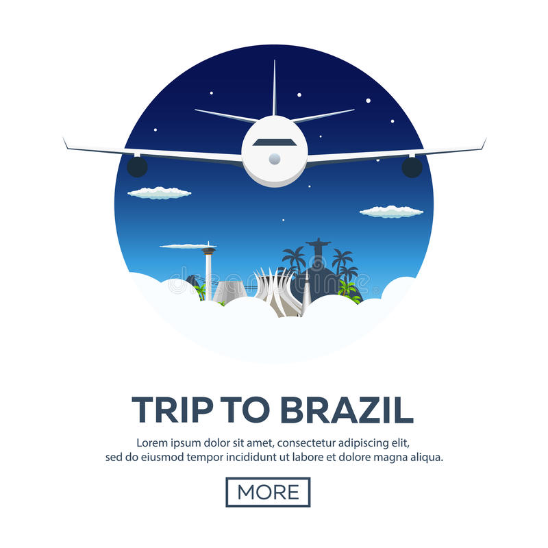 横幅旅行向巴西,里约热内卢 海报地平线 也corel凹道例证向量 库存例证