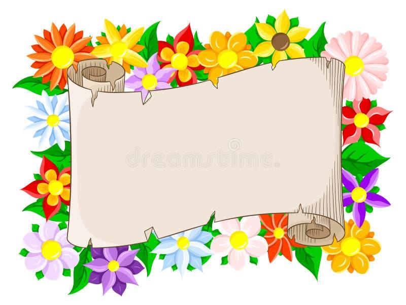 横幅有花卉背景 皇族释放例证