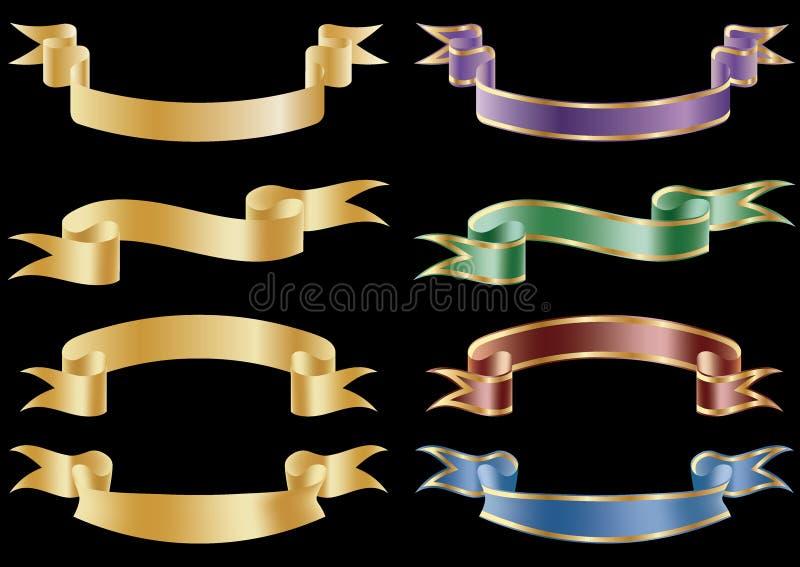 横幅标志丝带滚动集合向量 向量例证