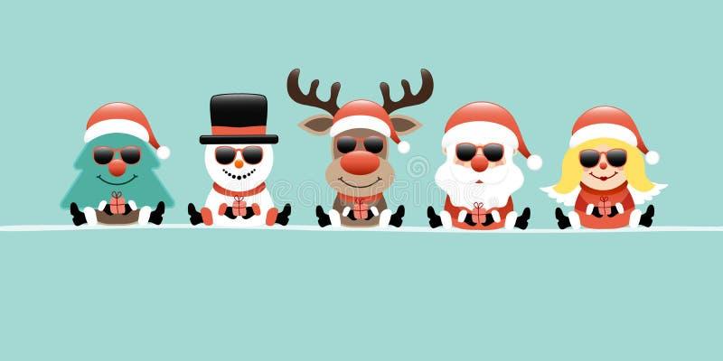 横幅树、雪人、驯鹿、圣诞老人&天使减速火箭礼物的太阳镜 向量例证