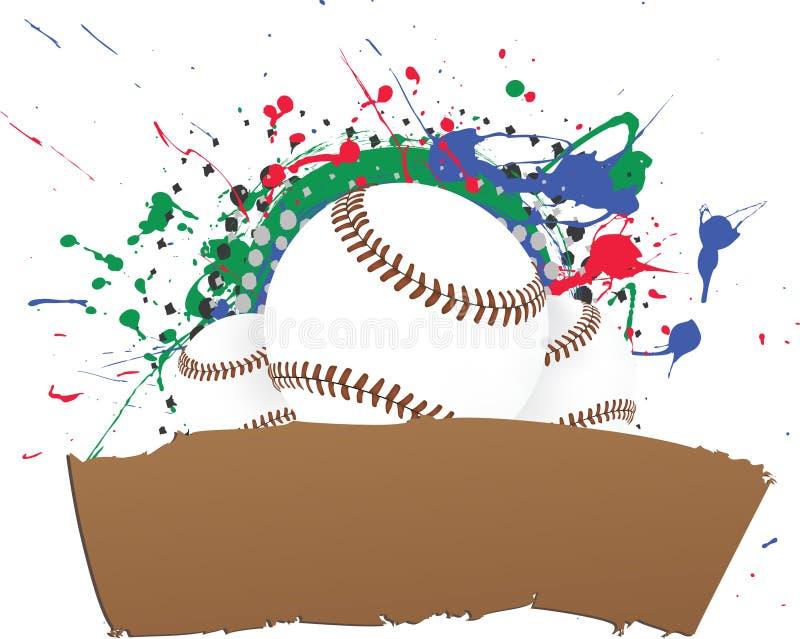 横幅棒球grunge向量 皇族释放例证