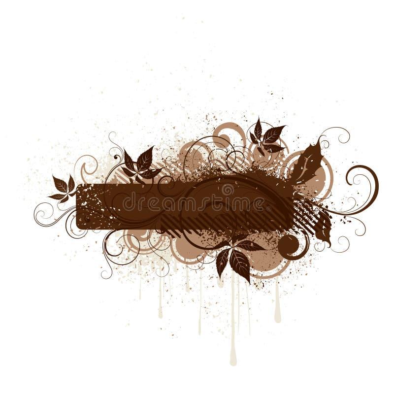 横幅棕色花卉grunge 库存例证
