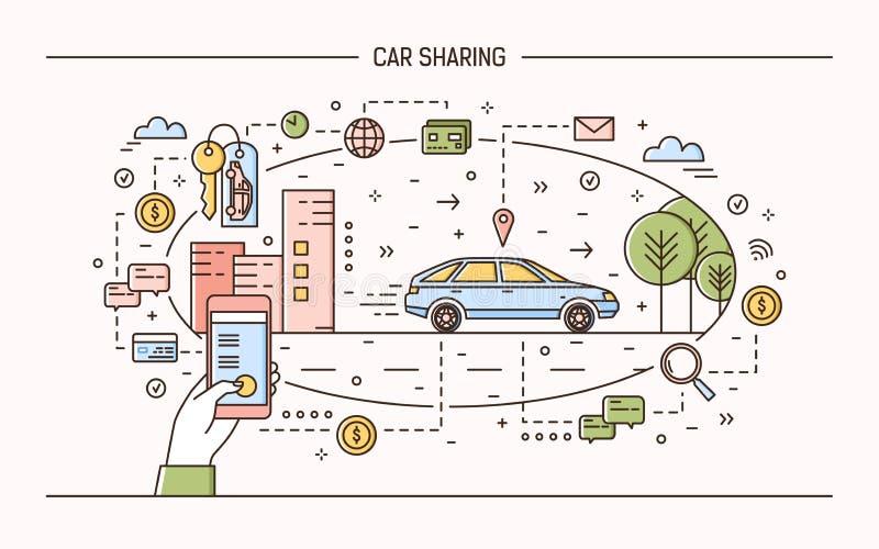 横幅模板用拿着手机、钥匙和汽车在城市街道上的手 汽车分享和出租电子 皇族释放例证