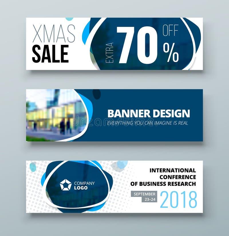 横幅模板设计 3d背景概念例证查出的介绍回报了白色 蓝色公司业务横幅模板背景 水平的横幅 皇族释放例证