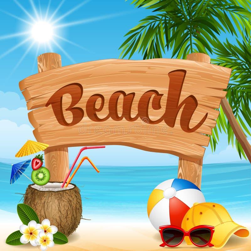 横幅海滩设计要素例证向量 皇族释放例证