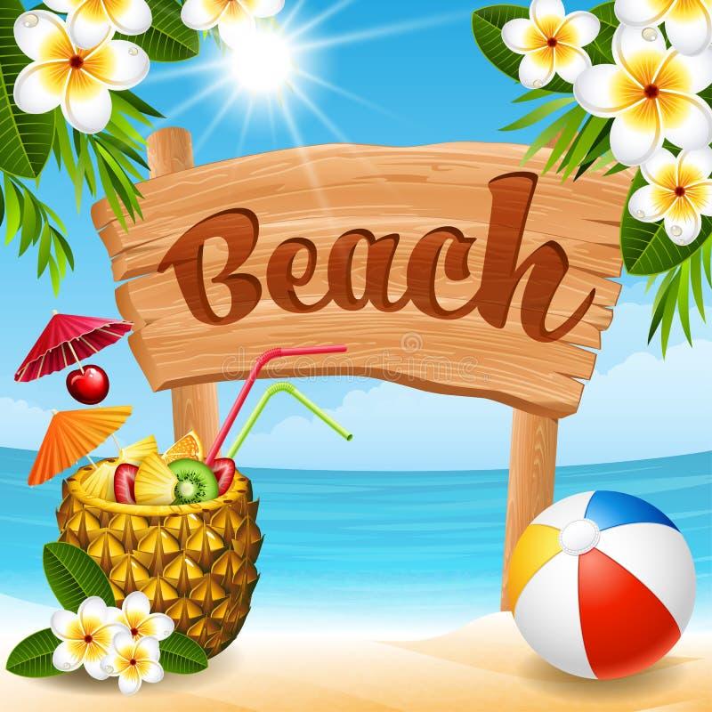 横幅海滩设计要素例证向量 向量例证