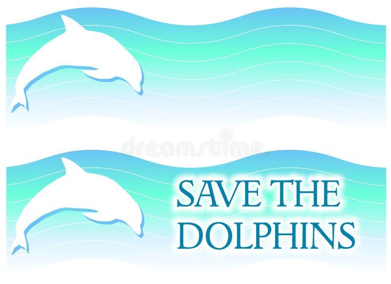 横幅海豚徽标 向量例证