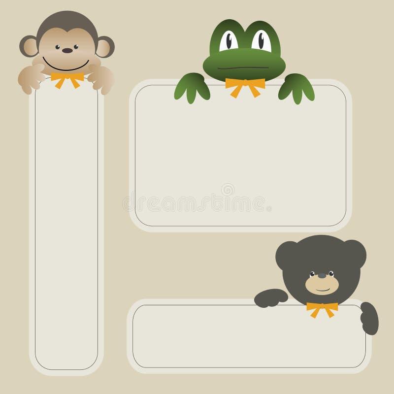 横幅熊青蛙猴子 向量例证