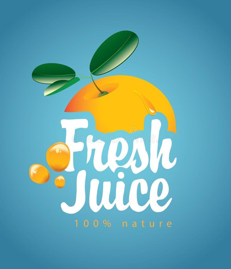 横幅用橙色果子和新鲜的汁液飞溅 向量例证