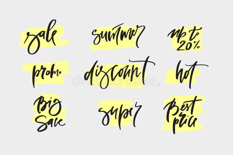 横幅的手拉的增进设计在网站,衣裳商店上 拉长的艺术标志 略写法的艺术例证待售,给aw 免版税库存照片