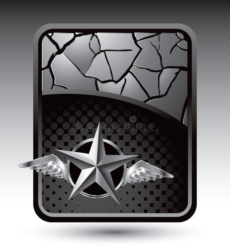横幅破裂的银色星形翼 库存例证