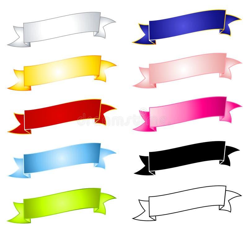 横幅空白五颜六色的丝带 向量例证