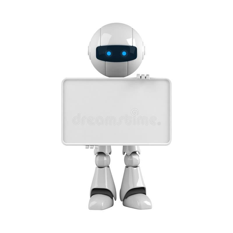 横幅空白机器人逗留白色 向量例证