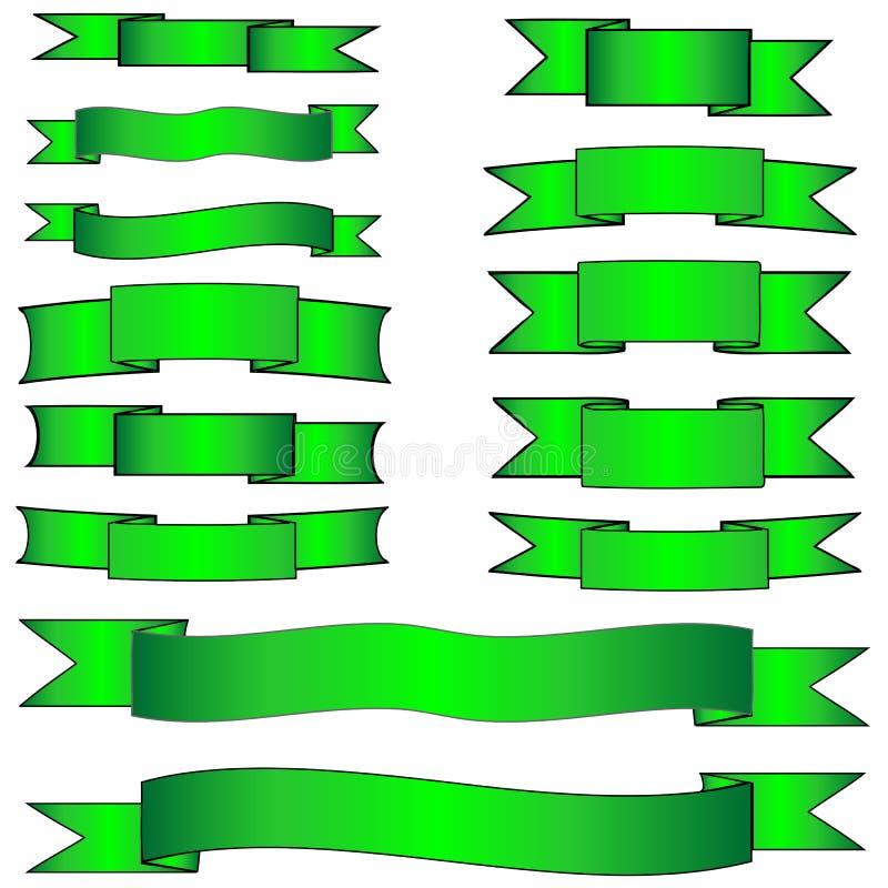 横幅绿色集 库存例证