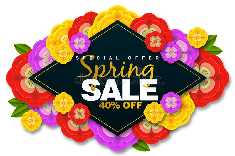 横幅背景的春天销售增进横幅特价40%与五颜六色的花 皇族释放例证
