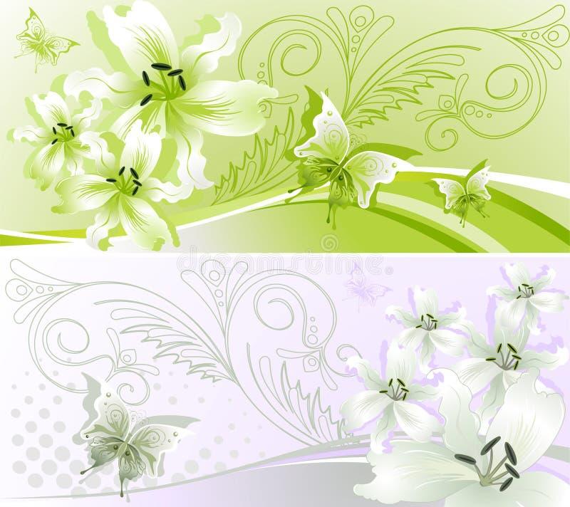 横幅花卉水平二 向量例证