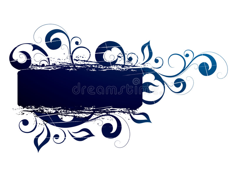 横幅蓝色花卉 向量例证