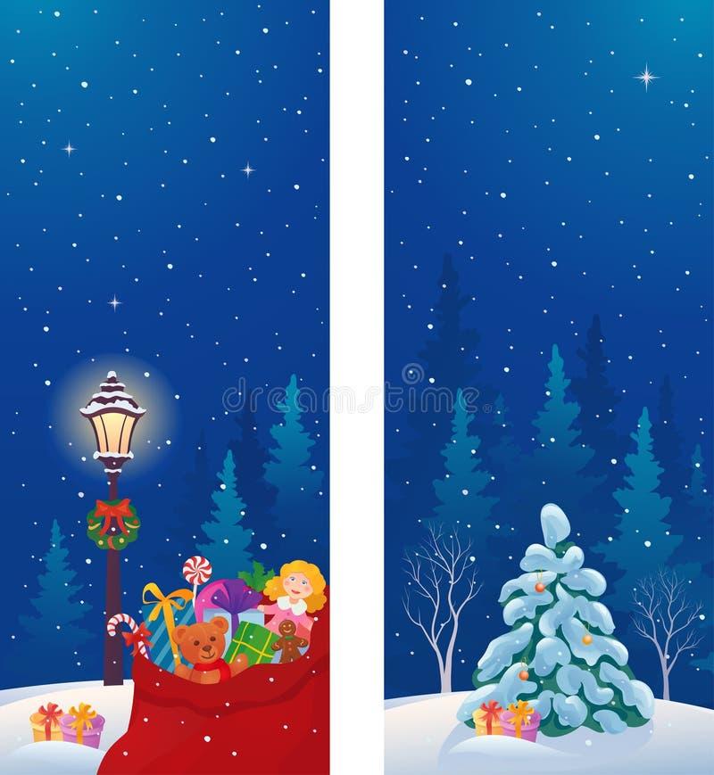 横幅蜡烛圣诞节帽子圣诞老人垂直 皇族释放例证