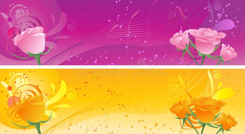 横幅装饰品玫瑰漩涡 皇族释放例证