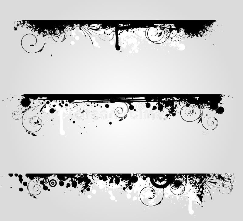横幅要素花卉grunge三 皇族释放例证