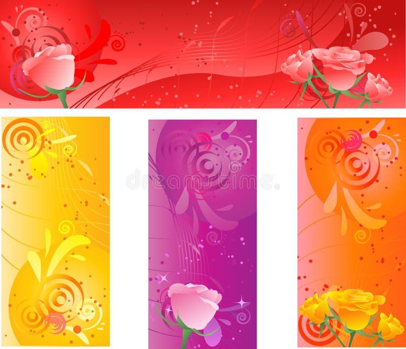 横幅设计多彩多姿的玫瑰漩涡 向量例证
