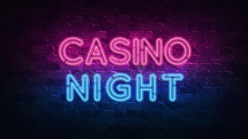 横幅设计的赌博娱乐场夜霓虹牌 赌博娱乐场维加斯比赛 霓虹灯广告,轻的横幅 胜利时运轮盘赌 时运机会 皇族释放例证