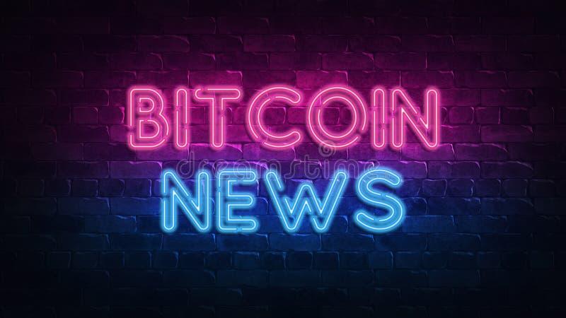 横幅设计的Bitcoin新闻霓虹牌 赌博娱乐场维加斯比赛 霓虹灯广告,轻的横幅 胜利时运轮盘赌 时运机会 皇族释放例证